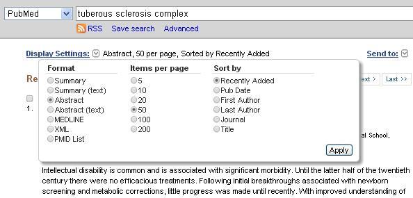 PubMed Display settings
