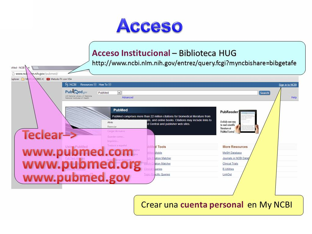 Formas de acceso a PubMed