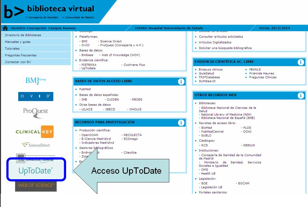 Acceso UpToDate desde BV